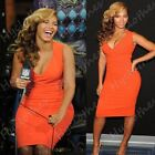 Celeb Style Womens Ruched Party Cocktail Bodycon Pencil Midi Deep V Dress D714