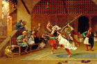 THE PYRRHIC DANCE ARAB DANCING CAIRO CAFE ORIENTALIST PAINTING BY GEROME REPRO