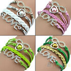 Vintage Love Heart Beads Crystal Rhinestone Bracelet Multilayer Bangle Cuff BD2U