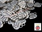 100 Pcs - Tibetan Silver 13mm Made With Love Charms Beads Jewellery Craft O39