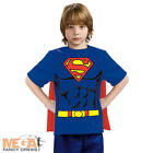 Superman Boys T-shirt + Cape Superhero Fancy Dress Kids Costume Childs Outfit