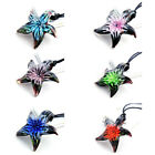 g609m95 Lady's Starfish Flower Bead Art Murano Lampwork Glass Pendant Necklace