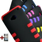 For HTC ONE M7 Rugged Tuff Impact Armor Rib Gel Hard Case Cover Colors LC