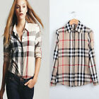 1PC Vogue Womens Fashion Lattice Blouse Stripe Plaid Long Sleeve Slim Shirt