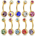 Brushed Gold Plated on Surgical Steel Double Jewelled Belly Bar / Navel Ring