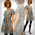 LADIES BUTTON UP SHORT SLEEVE CHECK CHECKED DRESS TIE BELT GREY BLUE 14 16 18 20