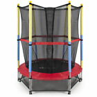 "55"" Round Kids Mini Trampoline w Enclosure Net Pad Rebounder Outdoor Exercise"