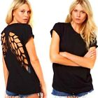 New Back Hollow-out Angel Wings Short Sleeve Cotton Blend T-Shirt Tops Black -LA