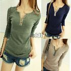 lady Crew Neck long sleeve Blouse T-shirt shirt Solid Bottoming Tee 4 Colors