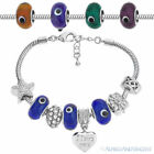 Evil Eye Turkish Nazar Greek Bead European Charm Beaded Bracelet - Clear Colors