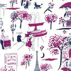 GAY PAREE - JEWEL PURPLE - MICHAEL MILLER COTTON FABRIC paris eiffel poodle cafe