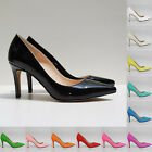Ladies Mid Heels Pointed Corset Style Work Pumps Court Shoes Patent Size 2-9