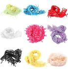 Chic Colorful Women/Ladies Floral Design Lace Sheer Scarf Shawl Tassel--LA