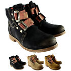 Womens Fly London SKA Leather Military Buckle Strap Low Heel Ankle Boot UK 3-8