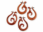 CARVED WOOD TRIBAL EARRINGS HANGER FLORAL ORGANIC JEWELRY fake plug gauge spiral