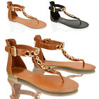 WOMENS LADIES FASHION FLAT LEATHER SOCK GOLD CHAIN T BAR TOE POST SANDALS SIZE