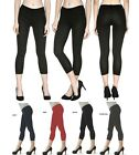 "CAPRI LEGGINGS New Basic 21"" Cotton Spandex Stretch Capri Leggings -S M L"