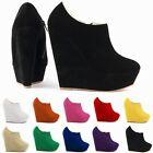 LADIES PLATFORM HIGH HEELS ANKLE BOOTS FAUX SUEDE SHOES SIZE 2 3 4 5 6 7 8 9