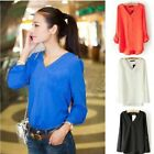 New Women's V-neck pullover long sleeve badges rivets loose chiffon T-Shirts LA