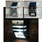VERY BRIGHT LED STAINLESS STEEL SOLAR PIR MOTION SENSOR DOOR SECURITY WALL LIGHT