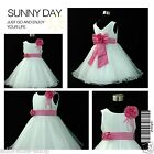 HP668 Hot Pink Whites Wedding Party Flower Girls Dress SZ 1-2-3-4-6-7-8-9-10-12Y