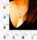 Nice Cat's eye Opal Clear Crystal Silver Plated Four-leaf Clover 18KGP Necklace