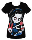 Akumu Ink Temptation Of Alice T Shirt Womens Black Tee Goth Tattoo Wonderland