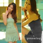 Hot Womens Backless Off Shoulder Ruffles Cotton Sexy Party Strapless Mini Dress
