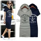 Women Short Sleeve Cotton Letter Print Slim Hoodies Long T-Shirt Dress Size S M