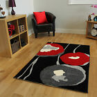 Soft Red Floral Small Large Rugs Easy Clean Living Room Mats Black Red Motif Rug