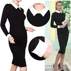 Midi Long Sleeve Celebs Icon 2014 Shift Pencil Work Office Party Bodycon Dress