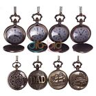 Men Women Vintage Retro Bronze Quartz Necklace Chain Pendant  Pocket Watch Gift