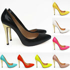LADIES GOLD HIGH HEELS ELEGENT STYLE WORK PUMPS COURT SHOES PATENT UK 2-9