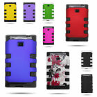 Hard Plastic TPU Hybrid Snap On Phone Cover Case for LG Optimus Logic / Dynamic