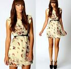 Cute! Women Summer Retro Skater Floral Butterfly Print Swing Dress Sundress -Y