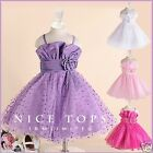 PU1688 Purple Wedding Flower Girls Party Dresses SIZE 1 2 3 4 5 6 7 8 9 10 11 12