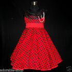 R3122 Red Polkadot Fancy Wedding Flower Girls Party Dresses SIZE 2,3,4,5,6,7,8,9