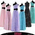 One Shoulder Long Bridesmaid Dress Chiffon Bridal Party Dress Prom Gown NEW SALE