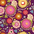 DAZZLED - MULTI ON PLUM - ADORNIT 100% COTTON FABRIC stunning desin