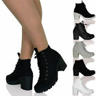 WOMENS LADIES LOW MID BLOCK HEELS LACE UPS ANKLE BOOTS CANVAS BOOTIES SIZE SHOES