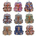 Ladies Canvas Printed Backpack Rucksack School College Gym Travel Shoulder Bag