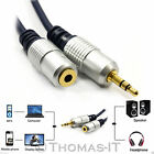 Pro Metal 3.5mm Stereo Jack Plug to Socket Aux Headphone Audio Extension Cable