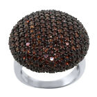 2.90 Ct Stunning Round Coffee Zirconia 925 Sterling Silver Round Pave Ring