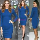 Womens Vintage Summer Formal Wear To Work Zipper Party Bodycon Midi Dress D758