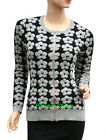 Womens Black Grey Cardigan Long Sleeve Size 8 12 14 with Raised Flower Patterns