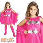 Pink Batgirl Girl's Fancy Dress Superhero Batman Kids Movie Childs Costume New
