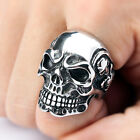 Men's Huge Silver Tone Gothic Skull Punk Style 316L Stainless Steel Band Rings