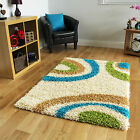 Small X Large Teal Green Cream Modern Rugs New Non Shed Soft Thick Shaggy Rugs