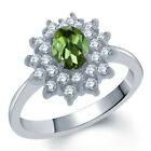 1.45 Ct Oval Natural Green Tourmaline 14K White Gold Ring