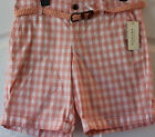 Sonoma~Women Coral Plaid Modern Fit Flat Front Chino Shorts~Size 8,10~NWT